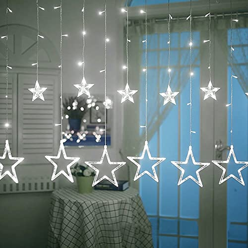 valuetom star curtain lights 2m fairy string lights with 12 stars 138pcs led 8