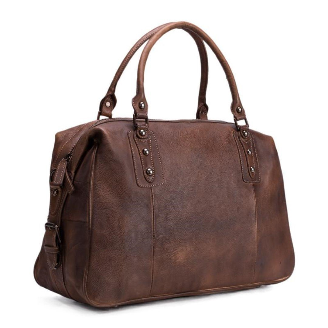 Men's Vintage Style Leather Travel Carry-On Bag - Dark Brown