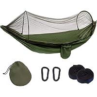 Huien Camp Hammock with Bug net 2 Person/Single, Portable Outdoor Camping hamick Lightweight Folding Nylon Parachute Fabric 9 feet for SiestaYard Tree Travel Indoor Beach Hiking (Black Mesh)