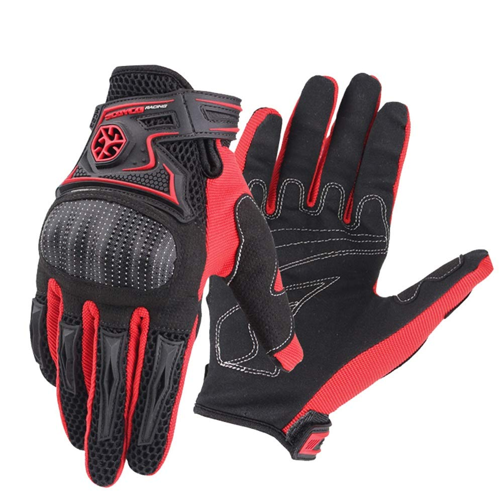 AINIYF Tactical Gloves | Motorcycle Shell Full Finger Motorcycle Gloves Cycling Anti-Wheel Motorcycle Spring Breathable (Color : Red, Size : M) by AINIYF (Image #1)