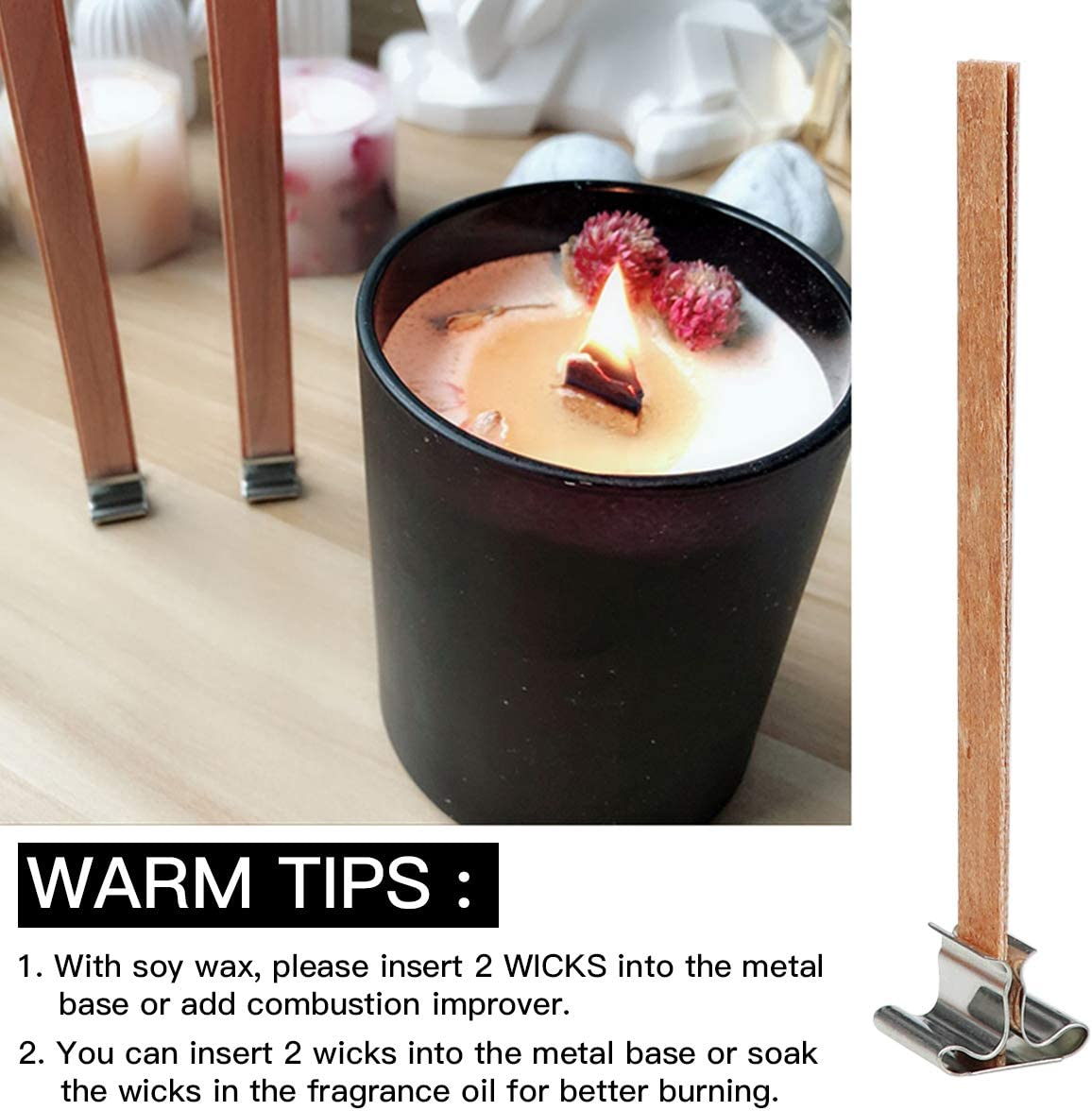 YOLUFER 50 PCS 2.35 x 0.25 Inch Candle Wicks with Iron Stand,Smokeless,Natural Environmentally Friendly Candle Cores for DIY Candle Making Craft