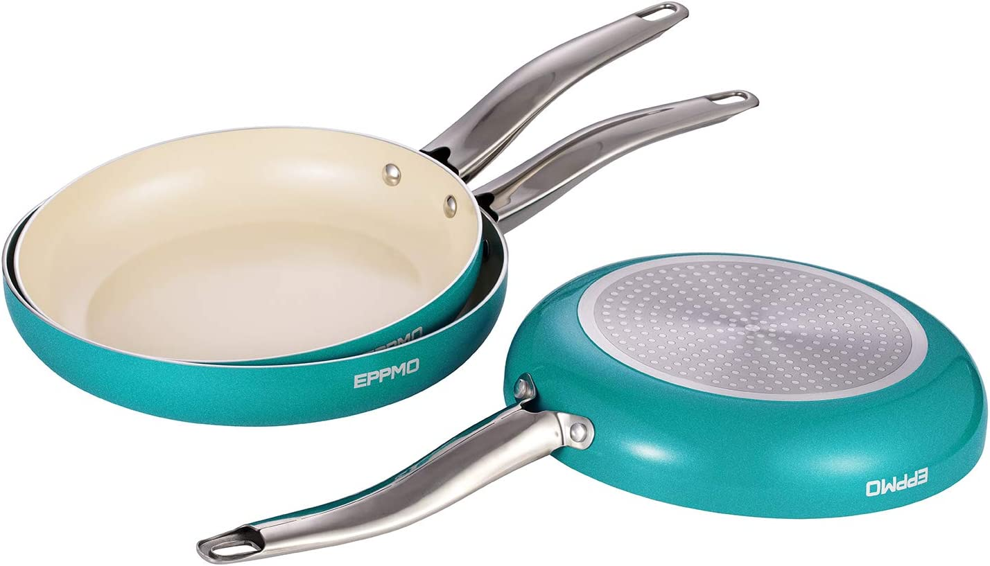 EPPMO Non-Stick PFOA-Free Dishwasher and Oven Safe Skillet, 8, 10 and 12 Inch Tiffany Blue Ceramic Open Fry Pan Cookware Set, 3 Piece, Aluminum