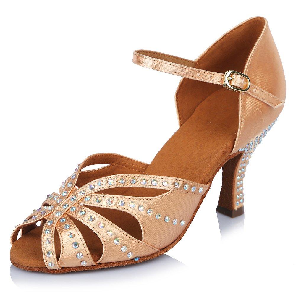 HIPPOSEUS Damen  Mauml;dchen Sandalen Ausgestelltes Tanzschuhe/Ballsaal Standard Strasssteine Satin Latein Dance Schuhe,DEAF435  40 EU|Beige