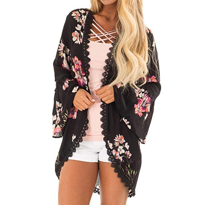 JURTEE Damen Herbst Kittel Chiffon Blume Drucken Spitze Mantel Tops Passen  Kimono Abdeckung Mode Kittel Oberteile 3efad0dd6a