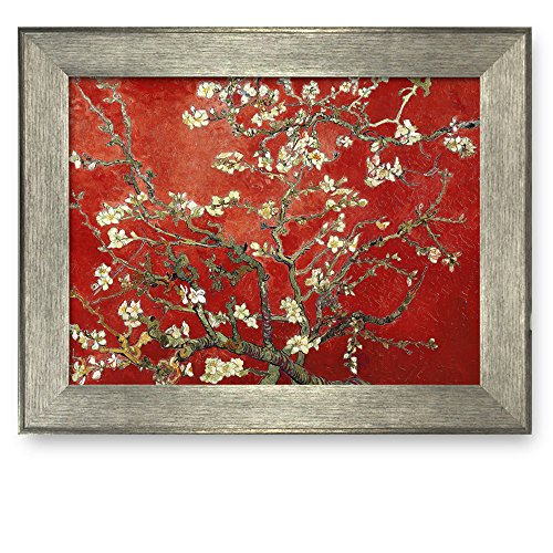 Framed Art Almond Blossoms by Vincent Van Gogh Interpretation in Red Famous Painting Wall Decor Silver Frame