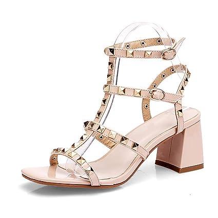 Da Donna Gladiatore Con Cinturini Borchie Sandali Estivi con Borchie Piatte Pantofole Scarpe