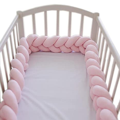 Soft Knot Pillow Decorative Baby Bedding Sheets Braided Crib Bumper Knot Pillow Cushion (Pure Color) (Pink, 78.7 Inch) by Parkside Wind