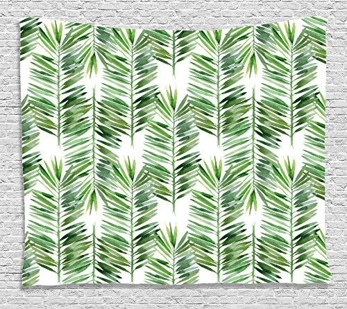 Decor Tapestry by, Watercolor Tropical Tree Branch Evergreen Leaf Featured Artsy Plant Lush Design, Wall Hanging for Bedroom Living Room Dorm, 80WX60L Inches, Green ()