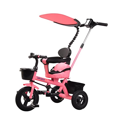 Niños Triciclo, Carrito, Carrito de bebé, Bicicleta de Pedal (Color : Pink