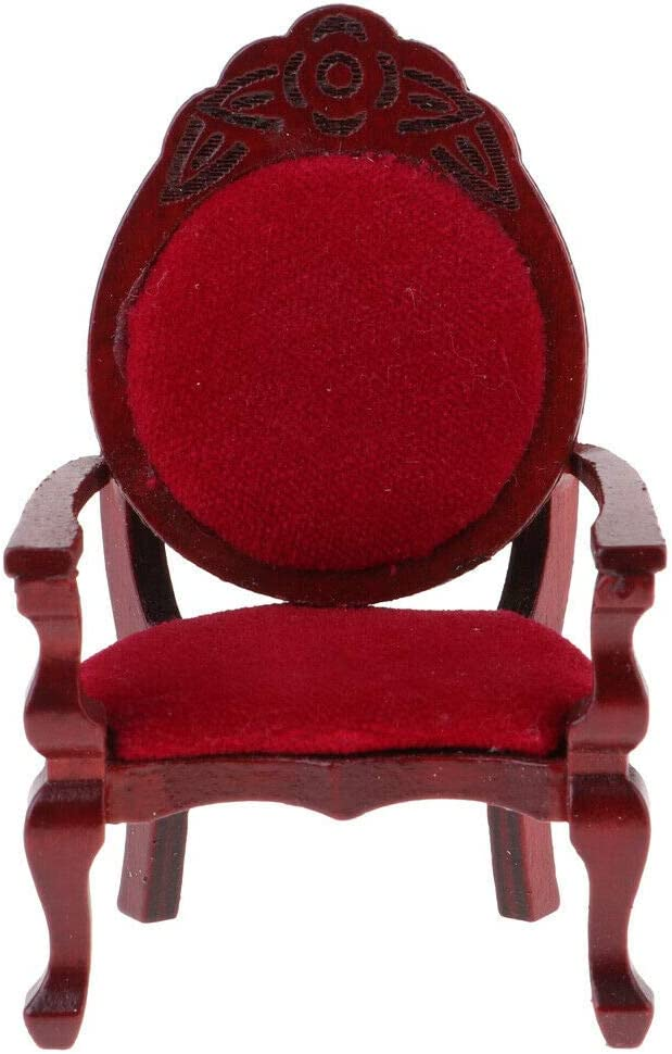 1:25 Rose Wood Color Square Stool Chair Miniature for Dollhouse Accessories