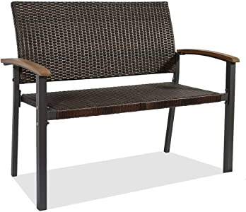 Outdoor Patio Rattan Bench -Outdoor Patio Furniture Sets with Wooden Handrail-Double Chair - Outdoor Garden Bench - Patio Decor Seating - Front Porch Furniture - Entryway Bench