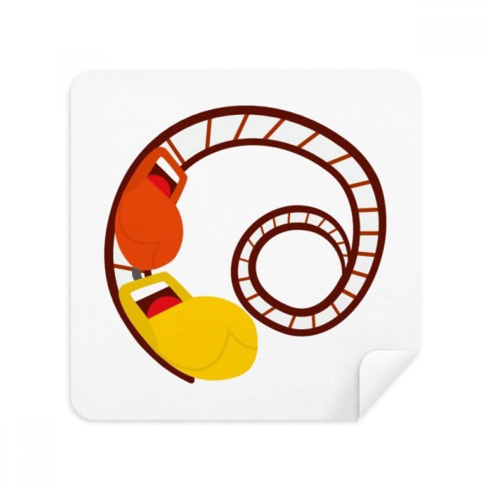 ジェットコースター遊園地Illustrationメガネクリーニングクロス電話画面クリーナースエードファブリック2pcs   B07C95Y4RJ