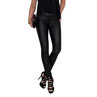 399341ed105d Dresscode-Berlin DB Damen Stretch Kunstleder Hose mit Lamellen im  Kniebereich in schwarz und rot