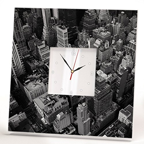 Black and White New York Manhattan Wall Clock Framed Mirror Skyline View Home Decor Printed Art Gift