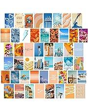 50 stks Muur Photo Collage Kit 4x6 inch Zomer Dag Muur Esthetische Foto, Muur Art Prints voor Meisjes Kamer VSCO Posters Dorm Foto Display, Warm Room Decor