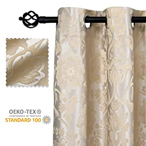 Allbright 100% Blackout Lined Curtains, Jacquard + Shading Lining 2 Layers Completely Blackout Window Treatment Thermal Insulated Drapes for Bedroom Living Room (52''W x 84''L, Silver Beige| 2 panels)