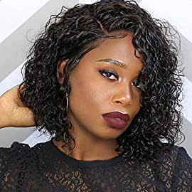 Brazilian Virgin Hair Short Bob Curly Human Hair Lace Front Wigs with Baby Hair Full Lace Human Hair Short Wigs Curly for Black Women (8 Inch, Lace Front Wig)