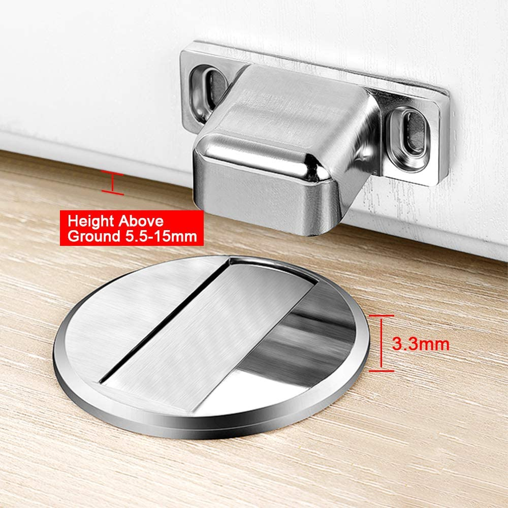 Silver 2 Pack Stainless Steel Door Stop Floor Mounted Metal Holder Security No Drilling Self Adhesive Doorstop Wedge with Screw Mount Sticker for Home Office BicycleStore Magnetic Door Stopper