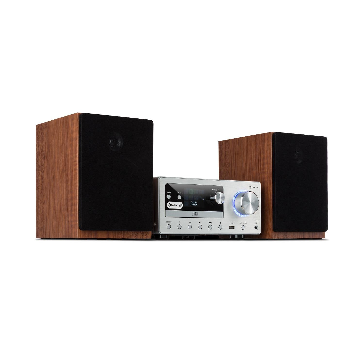 // FM Radio AUNA Connect System Stereo System Deluxe Edition Spotify Connect incl Internet//DAB Silver Compact System 80 W Max Infrared Remote Control CD Player Bluetooth Music System USB