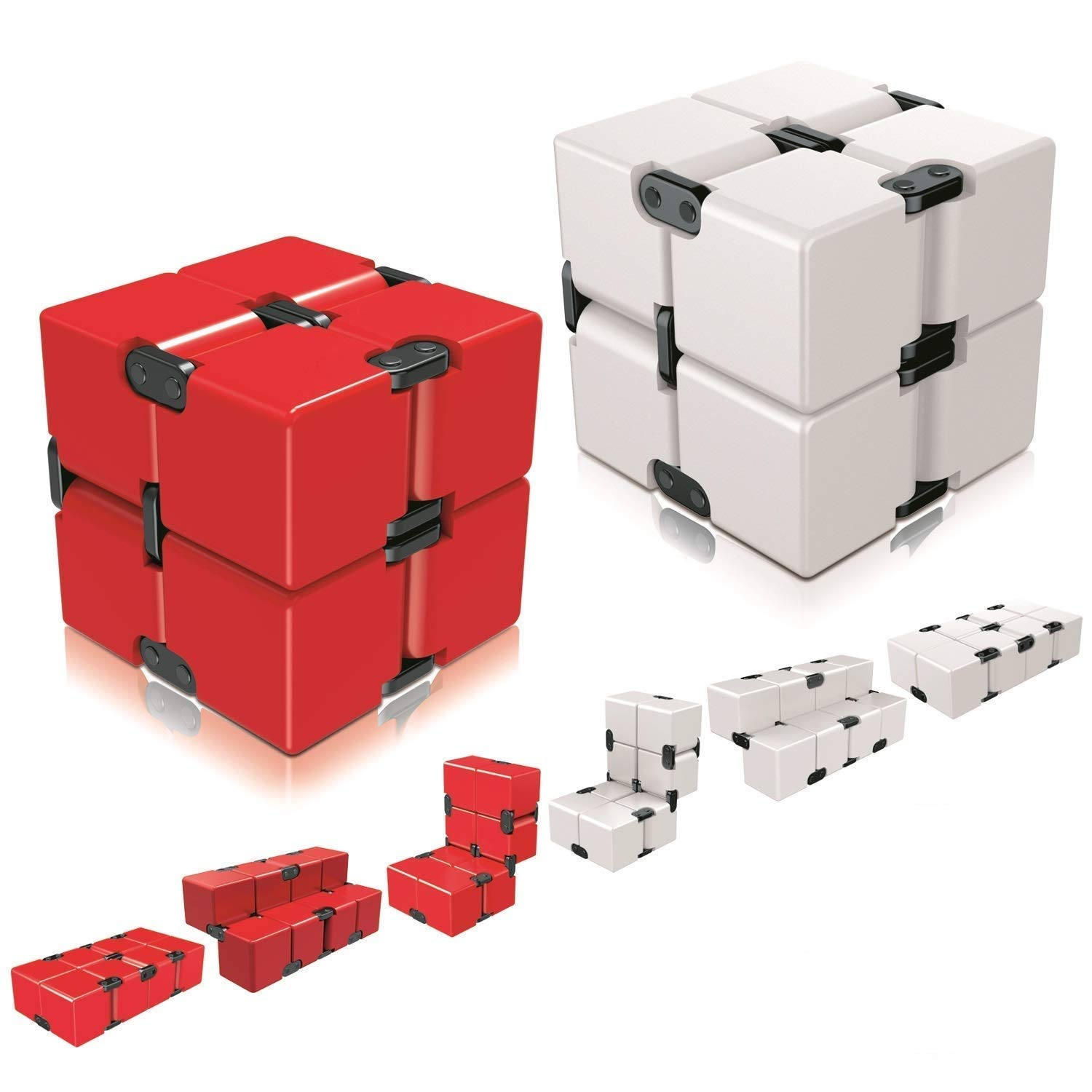 Ganowo Infinity Cube Fidget Toy for Kids and Adults, Fidget Cube Cool Mini Magic Cube Gadget Spinner for Stress and Anxiety Relief and Kill Time (Red&White)