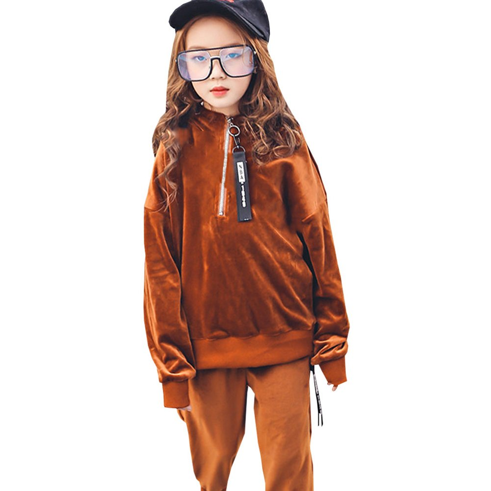 M&A Girls Long Sleeve Velvet Hoodie and Pants Outfit Tracksuit Spring Autumn