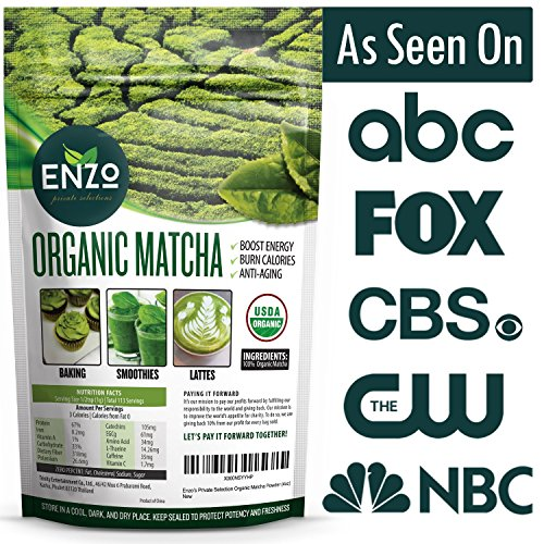 Organic Matcha Green Tea Powder by Enzo Full with Strong Milky Flavour, Easy to Dissolve in Hot Water. Perfect for Latte, Ice cream, waffles and baking. Perfect Coffee Alternative (2oz (56.5g))