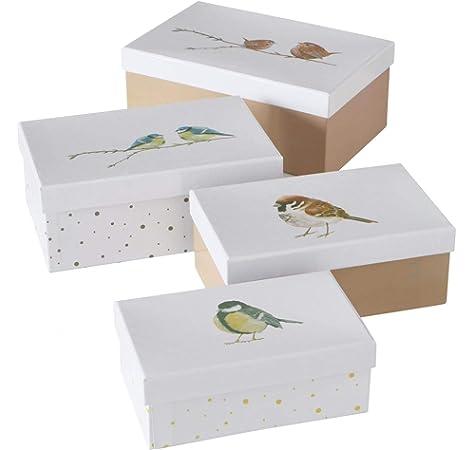 CasaJame Juego x 4 Cubos de Almacenaje con Tapa Contenedores Rectangulares Decorativos Multicolores de Cartón Varios Tamaños: Amazon.es: Hogar