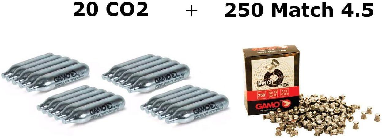 DataPrice Pack 20 bombonas CO2 12gr. Gamo + 250 Balines Gamo Match 4,5 mm. para Pistolas y Carabinas