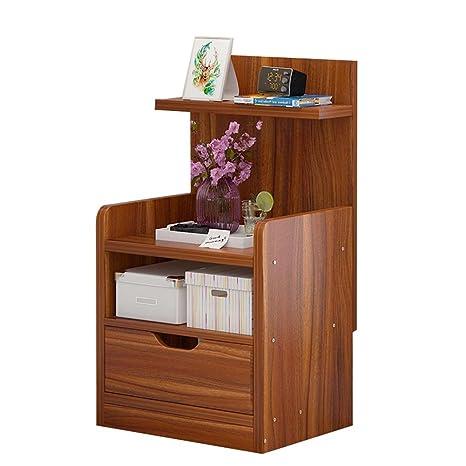 Amazon.com: Mini mesa de noche con base de madera, con cajón ...