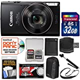 Canon PowerShot Elph 360 HS Wi-Fi Digital Camera (Black) 32GB Card + Case + Battery + Selfie Stick + Sling Strap + Kit