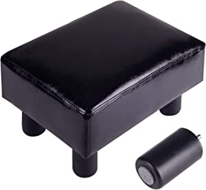 Footrest Small Ottoman Stool PU Faux Leather Modern Rectangle Seat Chair Footstool, Black