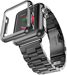 HUANLONG Compatible with Apple Watch Band Series 1/2/3/4, Stainless Steel Strap Band w/Adapter+Case Cover Compatible for iWatch 40/44mm (H Black 44mm)