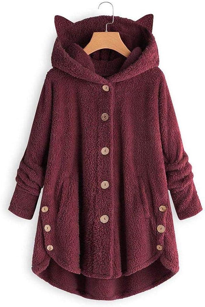 DREAMVAN Women Casual Plush Asymmetrical Design Hooded Cute Coat Wool /& Blends