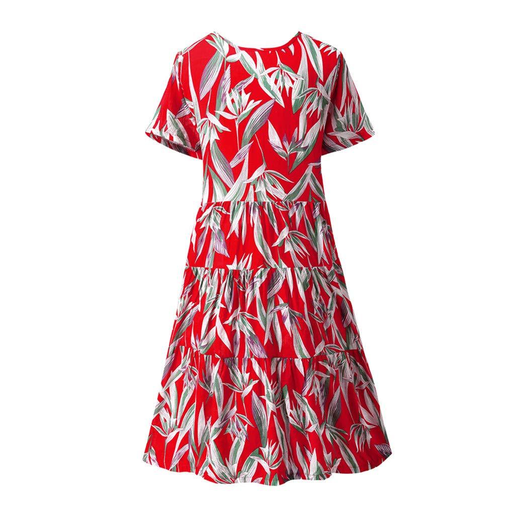 KawaiineWomen Boho O-Neck Print Pleated Easy Cotton and Linen Long Dress Red by ★Kawaiine★_Clothing