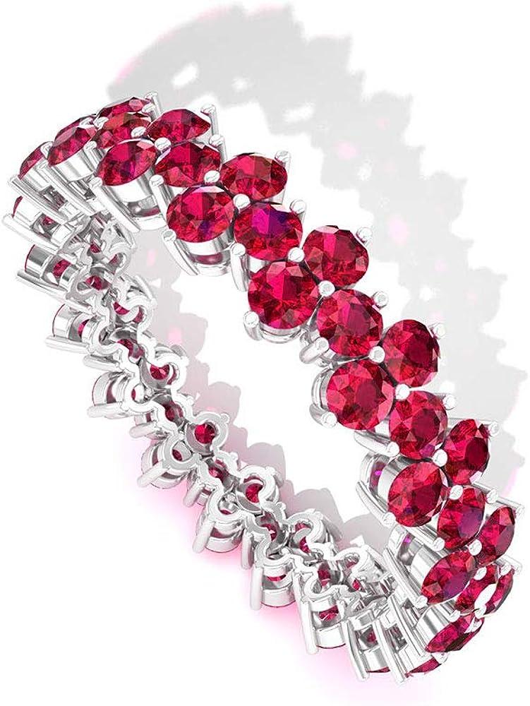 Anillo de cristal de rubí certificado de 2,85 ct, único anillo de boda de dama de honor, anillo de promesa de piedras preciosas, clásico anillo de eternidad para mujer, 14K Oro