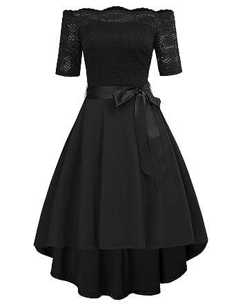 4447d0ba8bf8 GRACE KARIN 50s Rockabilly Dress Off Shoulder A-Line High Low Party Dress  Black  Amazon.co.uk  Clothing