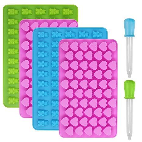 Moldes de silicona para dulces y cubitos de hielo, YuCool 4 moldes para gomas, ...