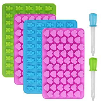 Moldes de silicona para dulces y cubitos de hielo, YuCool 4 moldes para gomas,