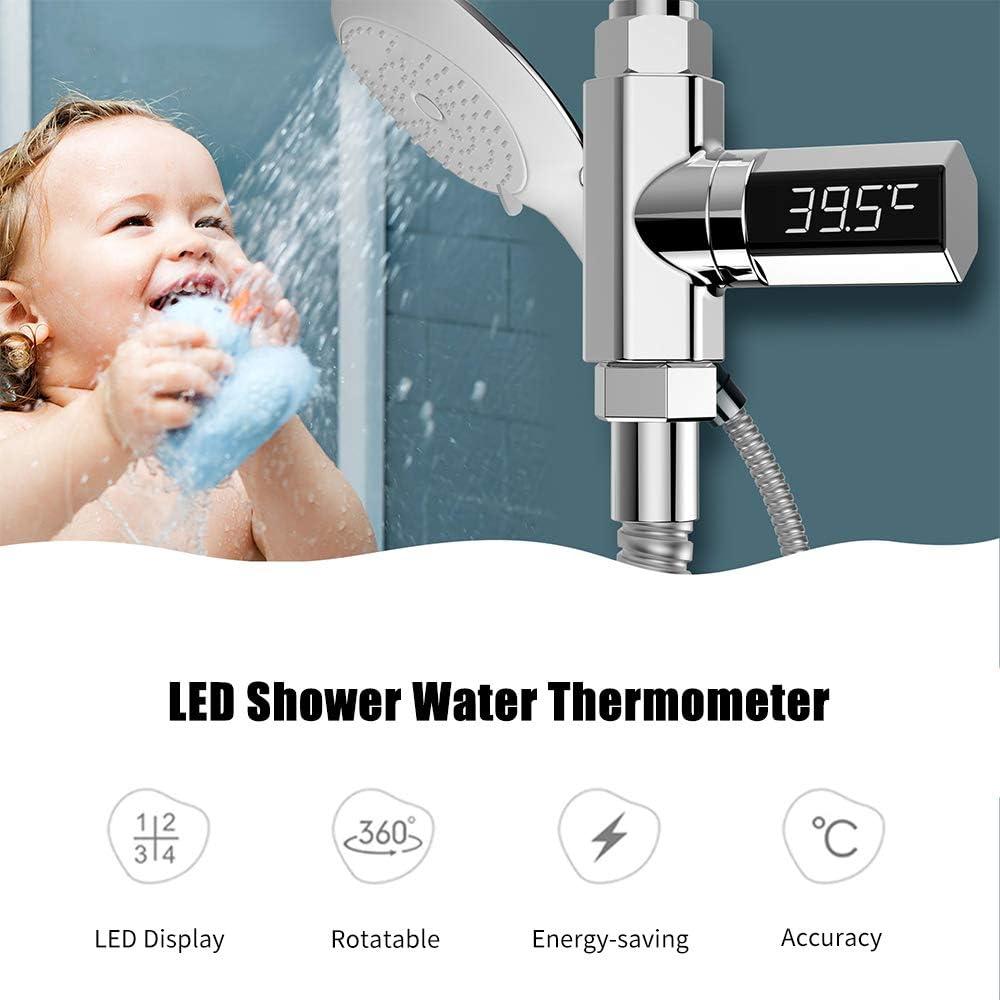 Weehey LED-Duschthermometer Digitale Dusche Celsius Temperaturanzeige Duschkopf Wasserthermometer Echtzeit-Badewassertemperatur-Monitor