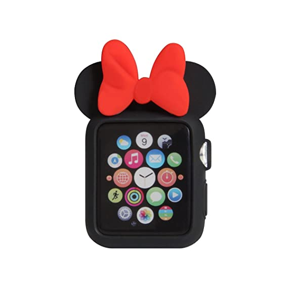 more photos ef23c 00594 Navor Soft Silicone Protective Case Disney Character Minnie Mouse Ears  Compatible with Apple Watch 42mm Series 1 2 3 [Black Red]