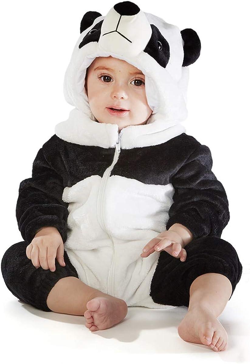 12-18 Months, Panda Bear Natural Uniforms Baby Animal Jumpsuit