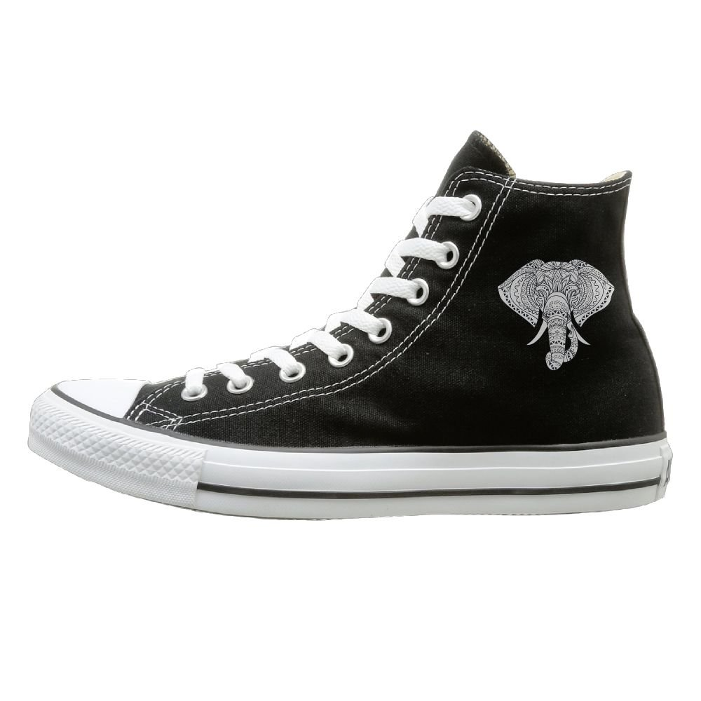 Aiguan Elephant With Ornate Tribal Tattoo Canvas Shoes High Top Design Sneakers Unisex Style
