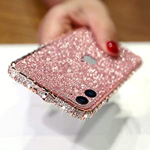 LUVI for iPhone 12 Pro Max Bling Glitter Diamond Case for Women Cute Rhinestone Crystal Sticker Skin Plating Metal Bumper Frame Edge Protective Cover Shiny Sparkle Fashion Luxury Case Rose Gold