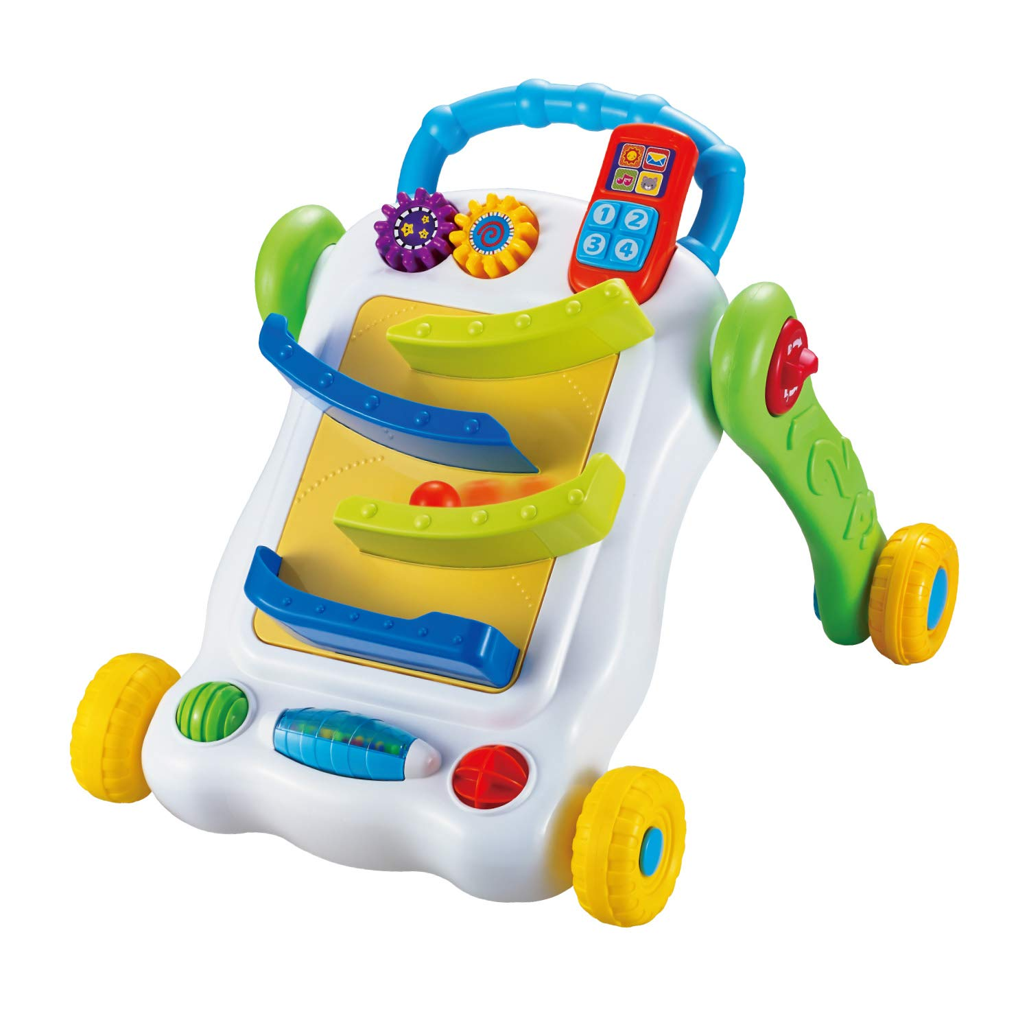 infunbebe Activity Ball Run Walker Early Walking Development Toy for Toddlers, Interactive Learning Walker with Locking Function & Activity Ball Run Panel, Multicolor