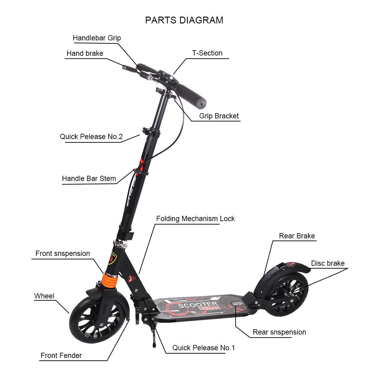 push scooter parts diagram