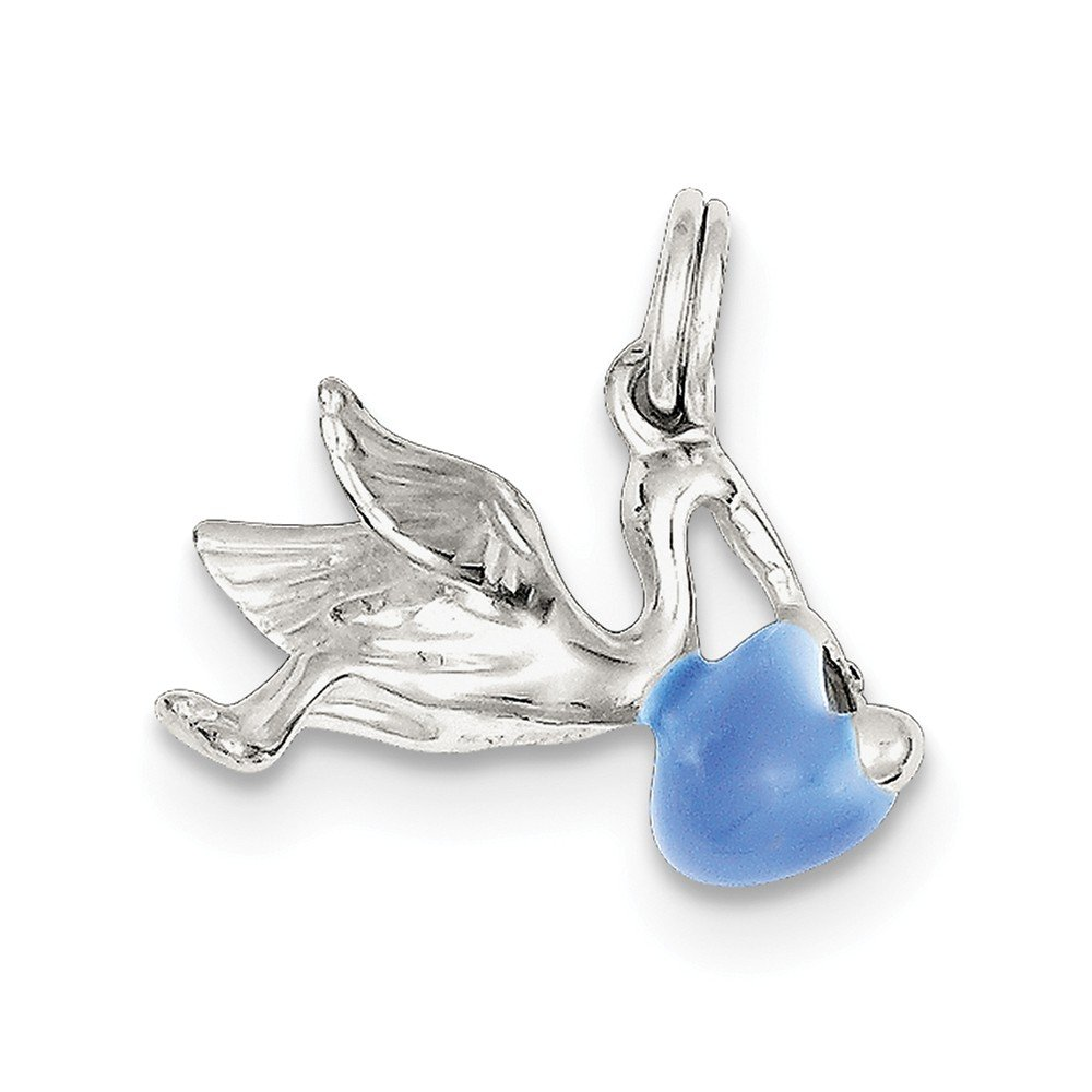925 Sterling Silver Stork Pendant With Baby Charm Blue Enamel Fashion
