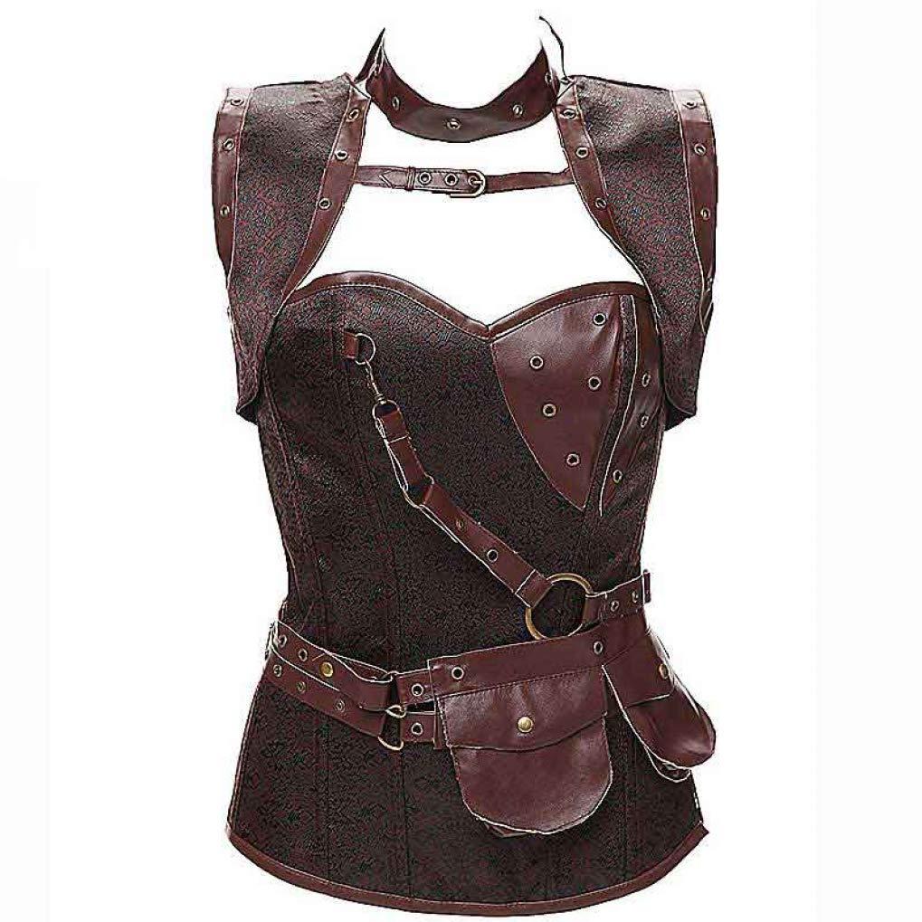 Brown AVITMOS Women's Steampunk Jacket Corset Bustier Gothic Gorset Plus Size Steam Punk Waist Cincher