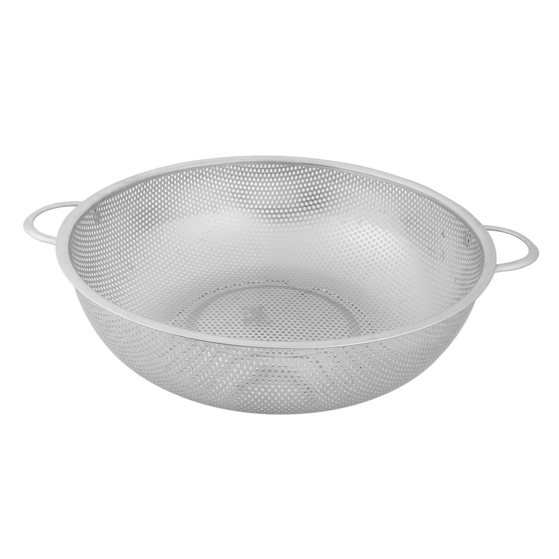 uxcell Stainless Steel Household Vegetable Fruit Washing Bowl Colander 28.5cm Diameter Silver Tone