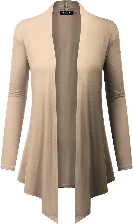 Because I Love You Women's Open Front Drape Hem Lightweight Cardigan - Medium - Stone