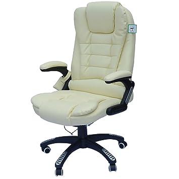 Homcom Chaise de Bureau pivotante Fauteuil Direction de Massage électrique  massant Vibration Relaxtion crème Neuf 0182595f785d